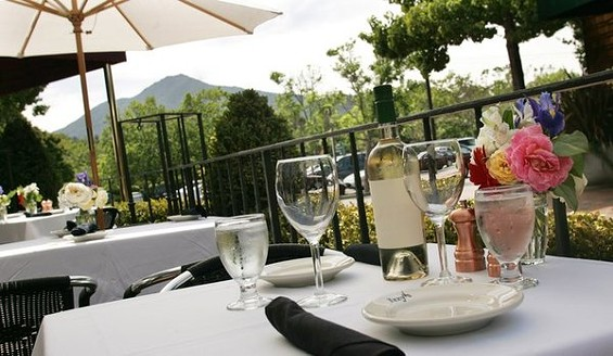 The former Izzy's Steakhouse site (picture here) offers terrace views of Mt. Tam.