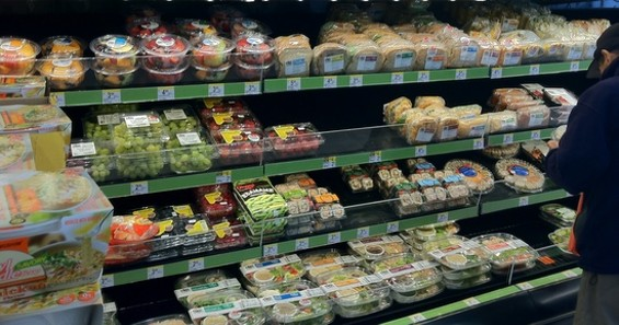 The fresh-food shelves at the Chinatown Walgreen's. - JONATHAN KAUFFMAN