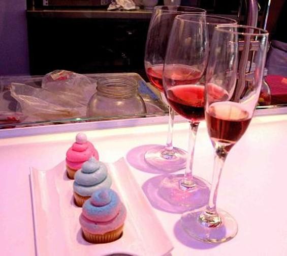 The Fun House: Bubblegum, cotton candy, and Pixie Stix mini cupcakes with Pinot Gris, Syrah rosé, and brut rosé. - TAMARA PALMER