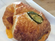 The ham-and-cheese croissant with jalapeño. (Not pictured: most of the jalapeños.) - PETE KANE