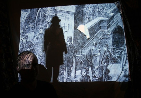 The head of Jeremy Rourke is visible in front of his stop-motion animated film Out to See.