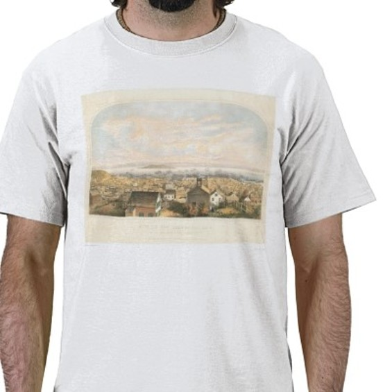 The image of San Francisco in 1852 that graced the Voter Information Pamphlet in November of '08 is also gracing this T-shirt!