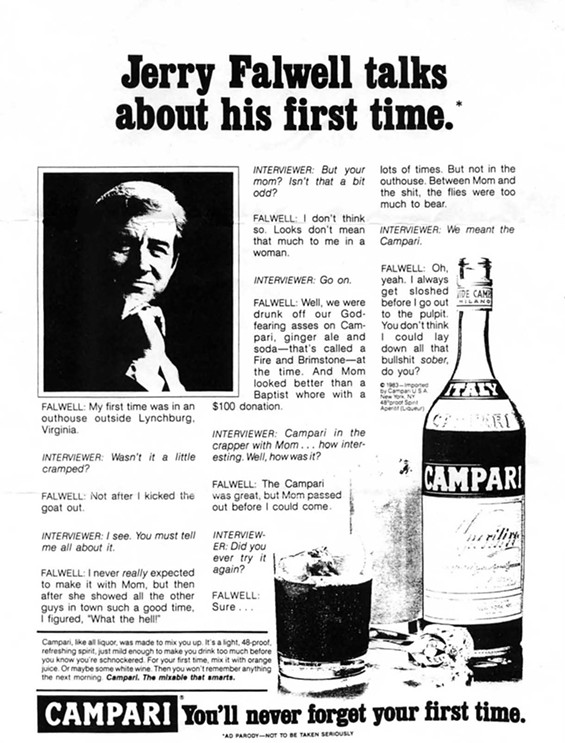 The infamous Jerry Falwell Hustler 'ad.' Click the ad for a larger version.