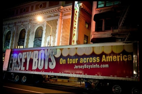 The Jersey Boys tour bus arrives at the Curran Theatre - HERM PUGAY