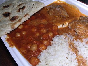 The kaabli chana-lamb curry combo at Rotee Express. - J. BIRDSALL