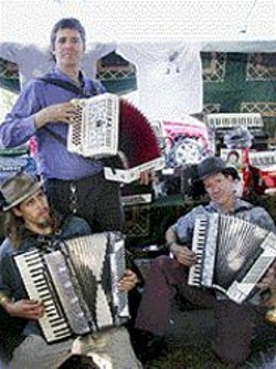 JILLIAN  NORTHRUP - The Keys to Their Hearts: Accordion fans - Jason Webley, Kimric Smythe (standing), - and Steve Mobia.