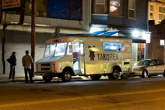 The Korean-fusion truck serves three kinds of tacos; recipes for marinades and kimchi come from the 28-year-old owner's family. - TAKOREA