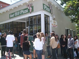 "The line to ""dine with celebrities"" Eisenberg and Ansari at Goat Hill Pizza. - TAMARA PALMER"