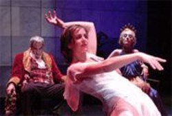 DAVID  ALLEN - The Long Arms of the Ma: Salome (Miranda Calderon) dances for Herod (Ron Campbell) as her mother (Julia Brothers) watches.