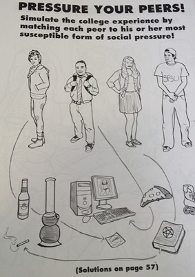 The many pressures of college: beer, weed, and roller-blading. - COLORING FOR GROWN-UPS COLLEGE COMPANION, PG. 32