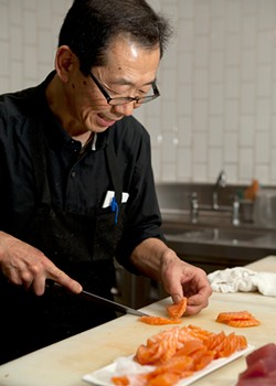 MELISSA BARNES - The master carver, Sachio Kojima, in action with his blade.
