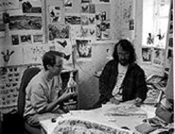 The meat of it: Nick Park (left, holding a model of Rocky the Rooster) and Peter Lord begin work on Chicken Run.