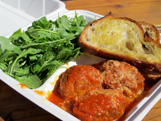 The meatballs alone with optional side of arugula - LOU BUSTAMANTE