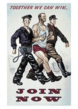 The men of  Sandow Birk's  faux propaganda war - poster Together We Can Win (2002) prepare - for combat.