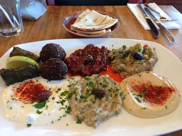 The Mezze Combo Plate at Hummus Mediterranean Kitchen in San Mateo. - TREVOR FELCH