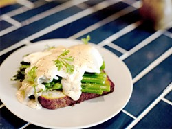 JEN SISKA - The open-faced asparagus sandwich is rich, crisp, and sweet.