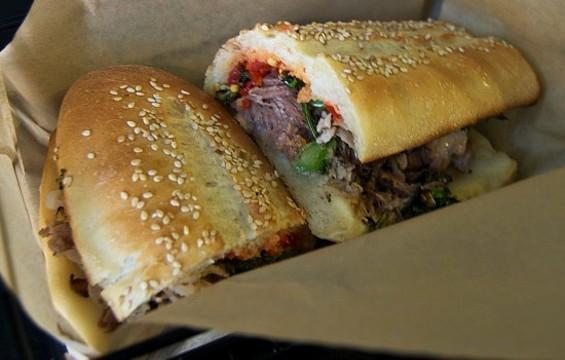 The porky Arista sandwich at Merigan Sub Shop. - JENN PRIES