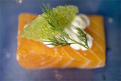 LARA HATA - The raw bar goes into new terrain: Arctic char with horseradish, tobiko, and dill.