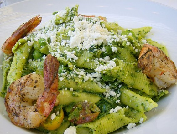 The Rotunda's garganelli with pistachio pesto and optional shrimp. - TREVOR ADAMS