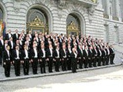 The S.F. Gay Men's Chorus on the steps of City Hall.