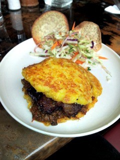 The shredded beef pabellon arepa at Pica Pica. - PETE KANE