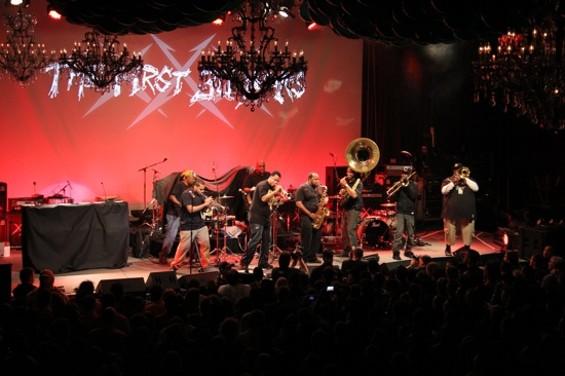 The Soul Rebels onstage last night.