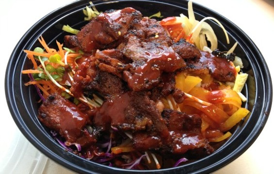 The spicy pork belly BiBimBap bowl at BiBimBar - ANNA ROTH
