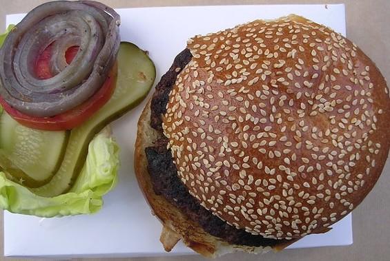 The steakburger ($12.95) at Lark Creek Steak in the Westfield San Francisco Centre. - JOHN BIRDSALL