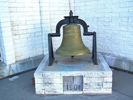 The stolen bell -- nearly 110 years old and an estimated 600 pounds - COURTESY       LYN MORET