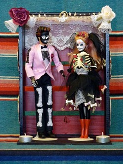 DAY OF THE DEAD BRIDE AND GROOM CREATED BY LISA HAMILTON FOR ALTEREDBARBIE.COM