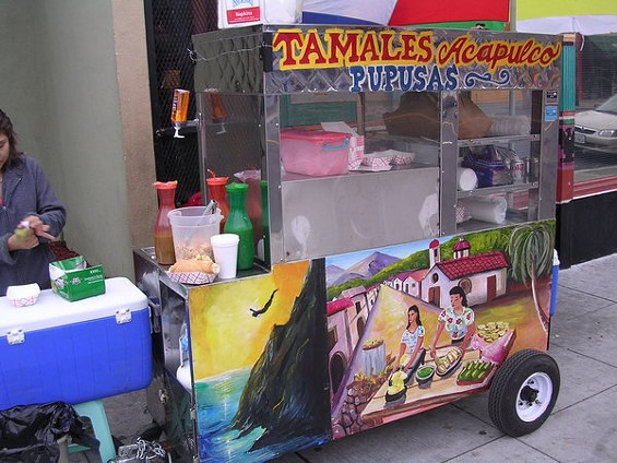 The Tamales Acapulco cart on Fruitvale Avenue in Oakland. - JOHN BIRDSALL
