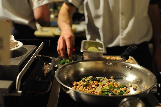 The Valencia Street wine bar tosses together a snacky mix of peanuts, chiles, and fried sardines. - JUDY PARKER