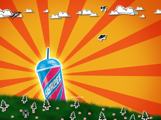 This 7-11 ad seems to replace the sun, provider of life, with a frozen cup of chemicals. Also, it's a little too Japanese battle flag for even us. - WWW.SLURPEE.COM