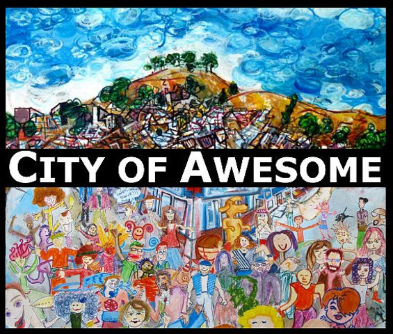 This exhibit graphic includes details of View of Bernal Hill and Dance City. - TODD BERMAN, ET AL.
