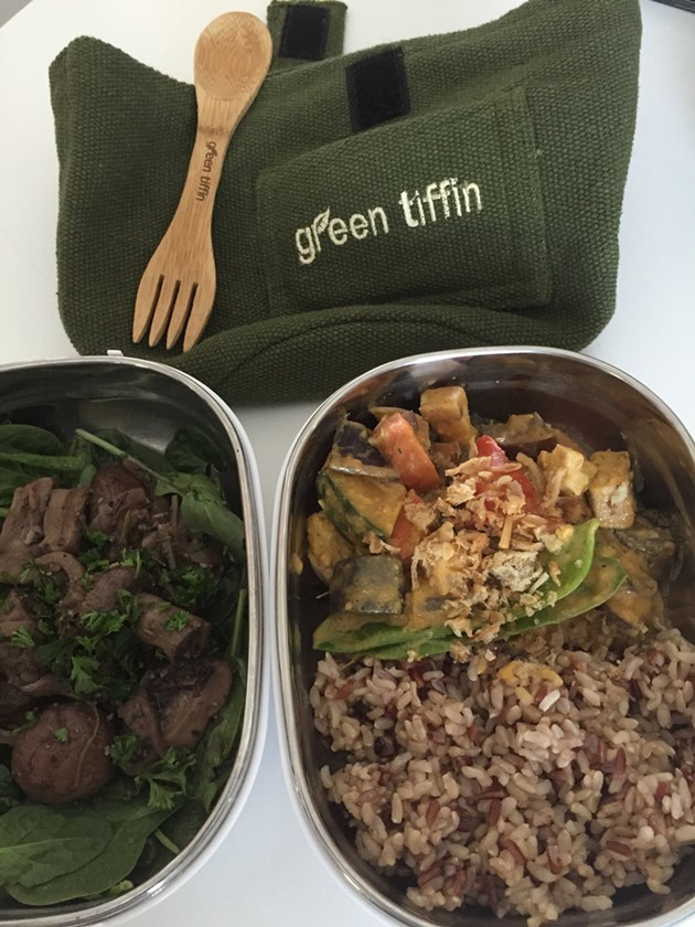 This Penang veggie curry and marinated mushroom salad could show up delivered by electric bike from Green Tiffin. - ALIX WALL