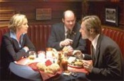 DALE  ROBINETTE - Three Blind Mice: Flacks Maria Bello (alcohol), David Koechner (guns), and Aaron Eckhart (tobacco).