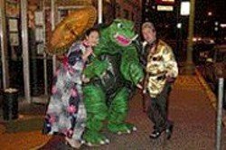 """Thrillville""'s Monica Tiki Goddess, Gamera, and Will - the Thrill Viharo."