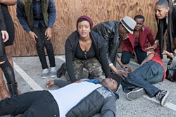 LANCEHUNTLEY - Tig (Ryan Nicole Austin) witnesses the shooting of her brother E-Mem (Aejay Mitchell) in Xtigone.