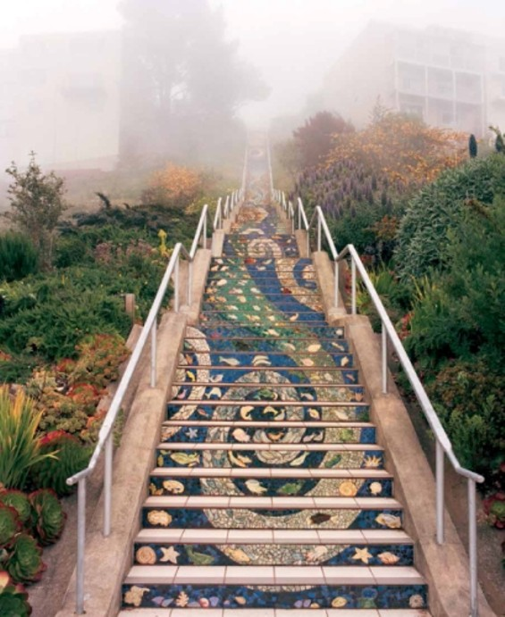 Tiled Steps, 2005, by Colette Crutcher and Aileen Barr, at Sixteenth Avenue and Moraga Street.