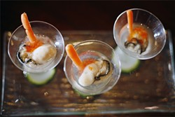 LARA HATA - To dive for: the kamikaze with oysters bathed in sake and accented with tobiko.