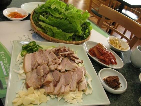 To Hyang's samgyeopsal, or sahm-gyop-sahl. -