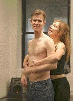 DIXIE  SHERIDAN - Tom Nelis as Oberon and Ellen Lauren as - Titania horse around.