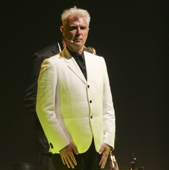 """Tomorrow, I shall go to the pirate store at 826 Valencia"": David Byrne on Monday night at the Orpheum. - CHRISTOPHER VICTORIO"