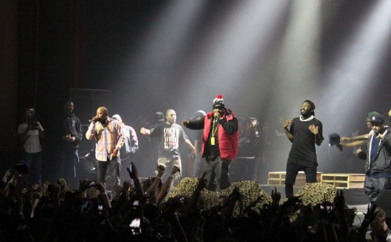 Too Short and E-40 on stage with the A$AP Mob