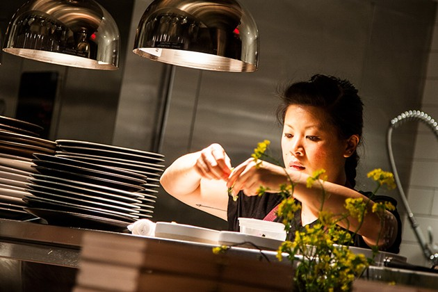 Top Chef winner Mei Lin working the pass. - THE DAPPER DINER