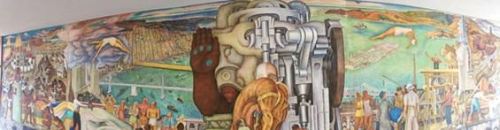 """Top Half Panorama of Diego Rivera's SF Mural: """"Pan American Unity"""" - JUAN DE ANDA/ SF WEEKLY"""