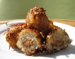 Top that, omnivores: Tempeh bacon-stuffed tater tots. - QUARRYGIRL.COM