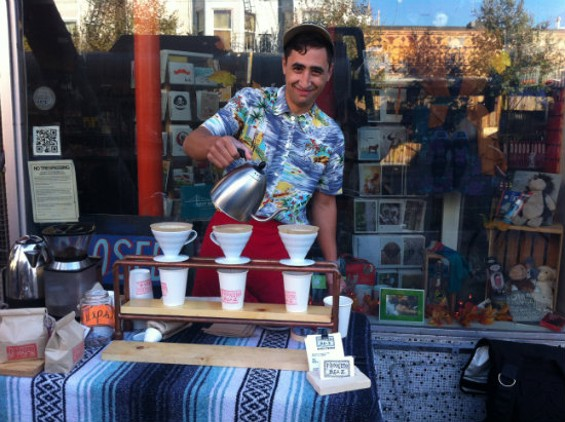 Travis Cabello brewing a cup of Proyecto Diaz coffee - MOLLY GORE