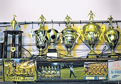 PAUL TRAPANI - Trophies at the El Farolito  bar.
