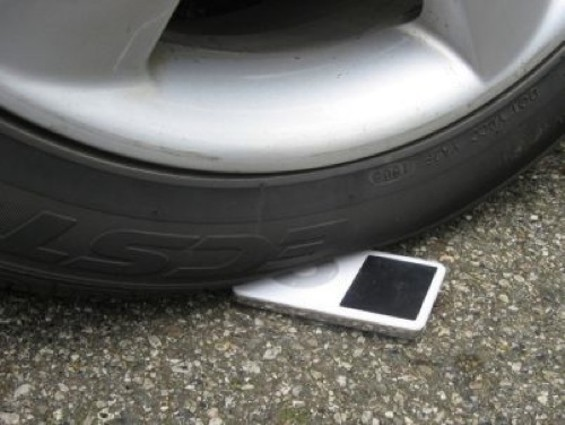 True story: A friend of ours accidently drove their car over their iPod once.